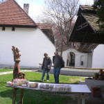 Klari and Jakab checking on Julia's wood - kiln