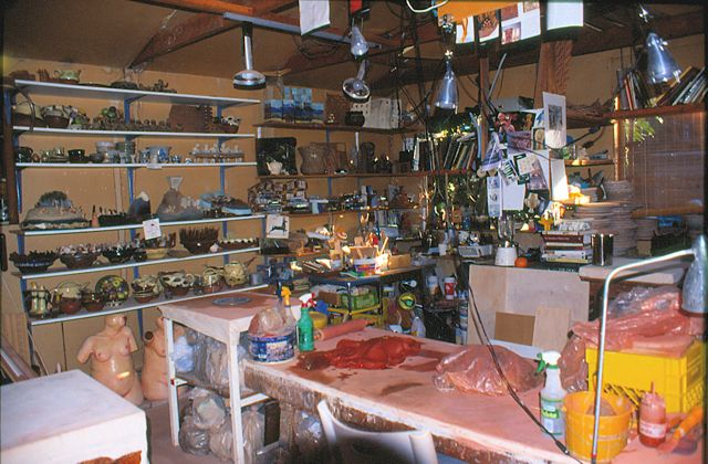 This is what my old studio looked like - 28 years of accumulated stuff...dark and cluttered!